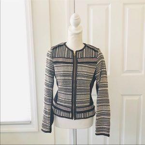 4/$25 H&M Black Geo Fringe Trim Collarless Jacket